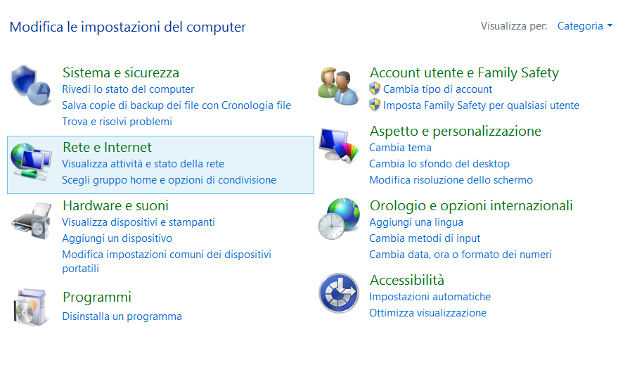 Il pannello di controllo di Windows 8.1