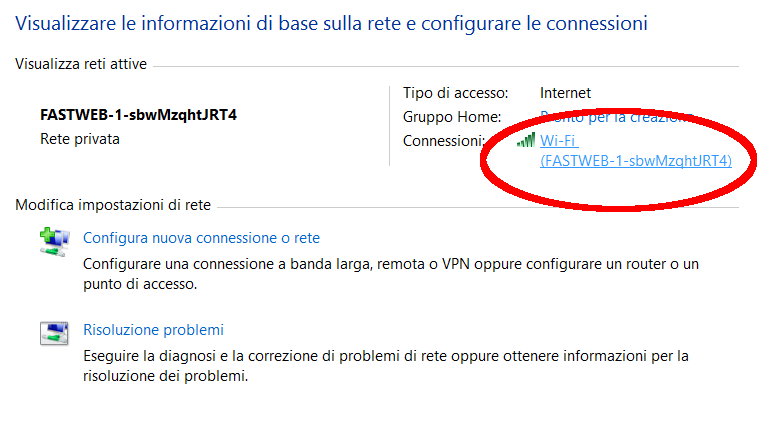 Screenshot connessione windows 8.1