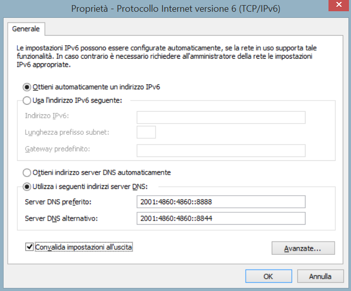 Schermata di modifica dei dns ipv6 su Windows 8.1
